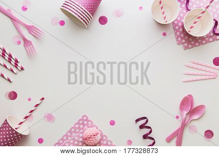 Pink party background with copy space
