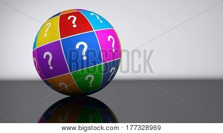 Question mark symbol and icon on a colorful globe customer support concept 3d illustration.