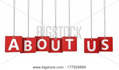 About us sign and letters on red paper tags for blog and online business concept 3d illustration.