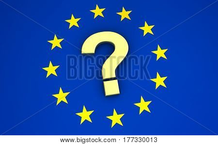 European union flag and question mark icon and symbol EU community future concept 3d illustration.