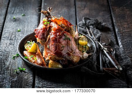 Grilled Pheasant With Bacon And Spices And Vegetables