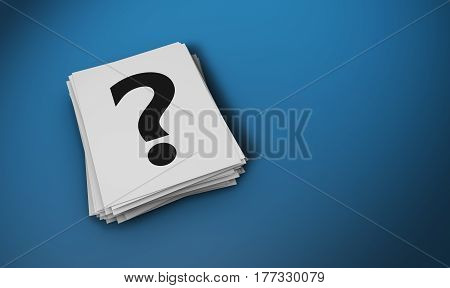 Customer support concept with question mark sign symbol and icon on a paper notes stack 3D illustration.