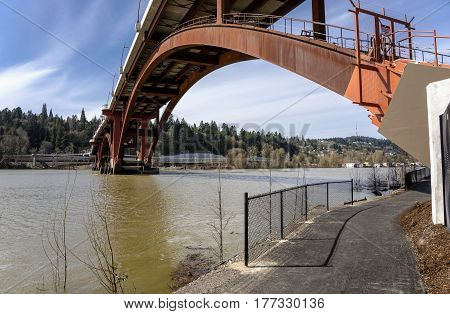 Sellwood bridge crossings and river in Portland Oregon.