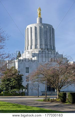 State Capitol building grounds  in Salem Oregon.