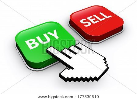 Hand icon clicking on buy or sell web button online selling and buying concept 3D illustration.