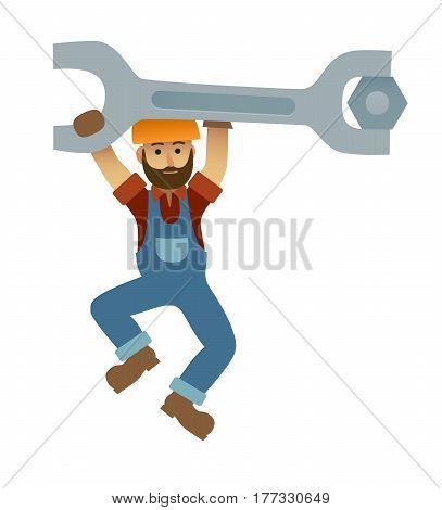 Cartoon mechanic holding a huge wrench, under construction, builder