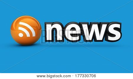 News sign and RSS feed icon web and online information concept 3D illustration on blue background.