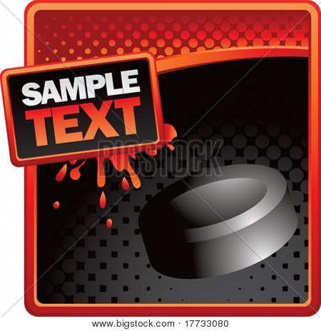 hockey puck red and black halftone splattered ad