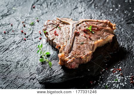 Delicious Tbone Steak With Herbs, Salt And Pepper