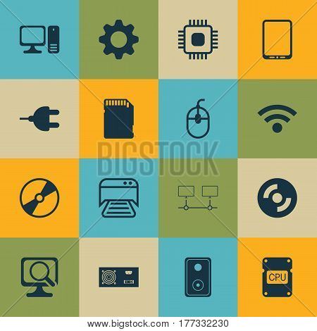 Set Of 16 Computer Hardware Icons. Includes Connector, Chip, Cellphone And Other Symbols. Beautiful Design Elements.