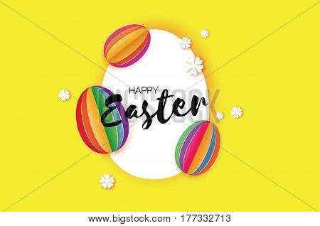 Origami Happy Easter Greeting card. Colorful Paper cut Easter Egg, white flower. Oval frame. Yellow background. Vector illustration.