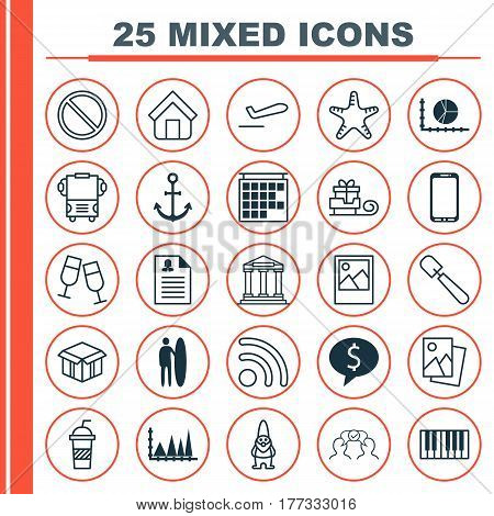 Set Of 25 Universal Editable Icons. Can Be Used For Web, Mobile And App Design. Includes Elements Such As Soda, Shovel, Departure Information And More.