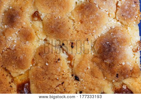 Macro photo of the surface of a german butter cake.