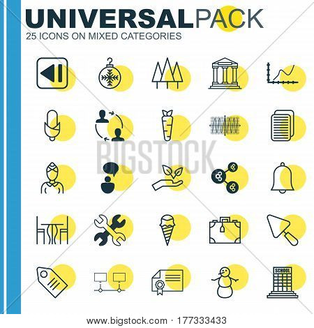 Set Of 25 Universal Editable Icons. Can Be Used For Web, Mobile And App Design. Includes Elements Such As Alert, Ticket, Hostess And More.