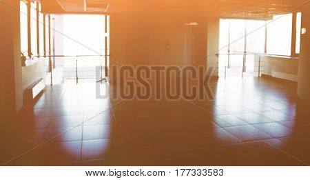 Photo of the hall in bright sunny weather for your virtual text