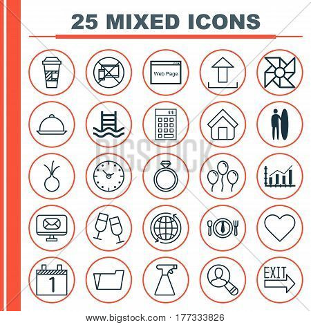 Set Of 25 Universal Editable Icons. Can Be Used For Web, Mobile And App Design. Includes Elements Such As Dining, Takeaway Coffee, Sprinkler And More.