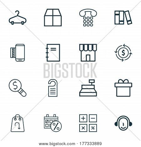 Set Of 16 Commerce Icons. Includes Callcentre, Present, Cardboard And Other Symbols. Beautiful Design Elements.