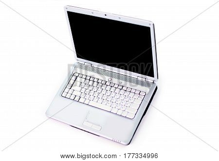 White laptop. Isolated on a white background.