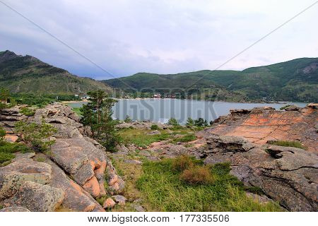 Travel to Kazakhstan Bayanaul National Park. The view on the lake and mountains.