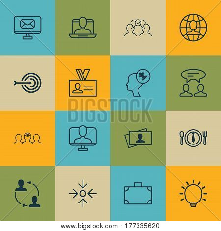 Set Of 16 Business Management Icons. Includes Arrow, Cooperation, Human Mind And Other Symbols. Beautiful Design Elements.