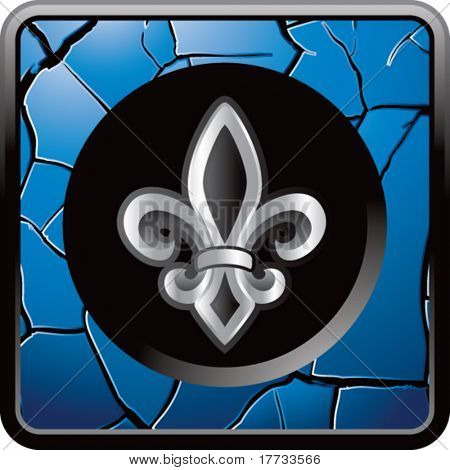 fleur de lis blue cracked web button