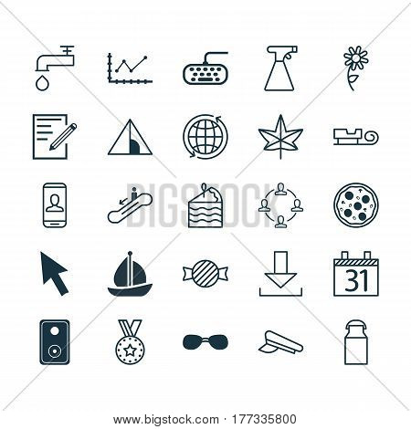 Set Of 25 Universal Editable Icons. Can Be Used For Web, Mobile And App Design. Includes Elements Such As Login, Date, Autumn Plant And More.