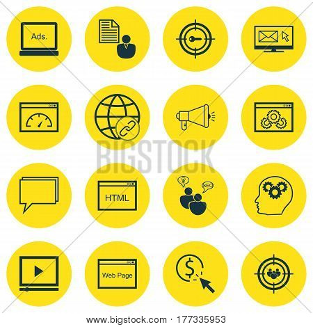 Set Of 16 SEO Icons. Includes Video Player, Digital Media, Search Optimization And Other Symbols. Beautiful Design Elements.