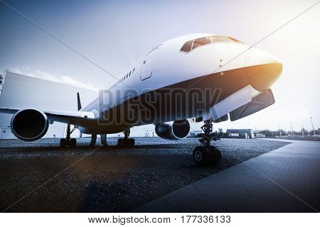 Passenger airplane on the airport parking. Aircraft, airline transportation industry. 3D illustration