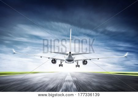 Passenger airplane taking off on runway. Aircraft, airline transportation industry. 3D illustration