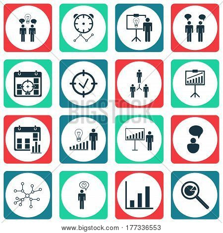 Set Of 16 Administration Icons. Includes Report Demonstration, Co-Working, Project Targets And Other Symbols. Beautiful Design Elements.