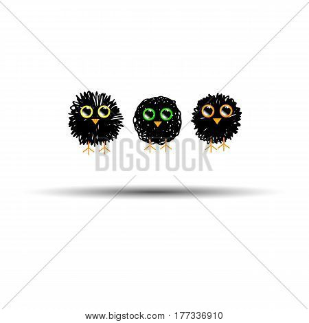 funny cute furry animal vector bird illustration sparrow bird owl