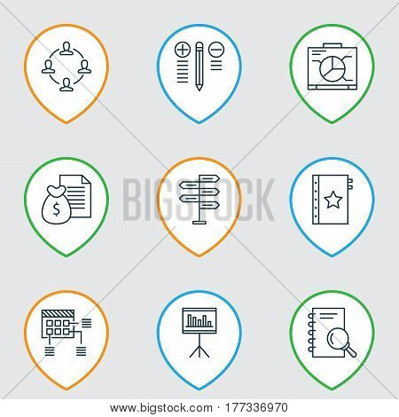Set Of 9 Project Management Icons. Includes Presentation, Decision Making, Collaboration And Other Symbols. Beautiful Design Elements.
