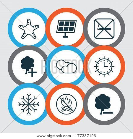 Set Of 9 Eco-Friendly Icons. Includes Sun Clock, Cloud Cumulus, Sea Star And Other Symbols. Beautiful Design Elements.