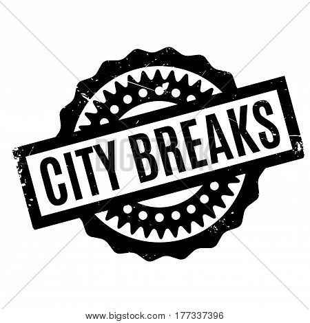City Breaks rubber stamp. Grunge design with dust scratches. Effects can be easily removed for a clean, crisp look. Color is easily changed.