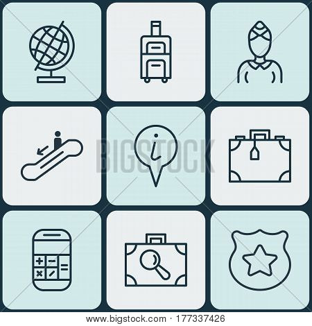 Set Of 9 Travel Icons. Includes World Sphere, Cop Symbol, Suitcase And Other Symbols. Beautiful Design Elements.