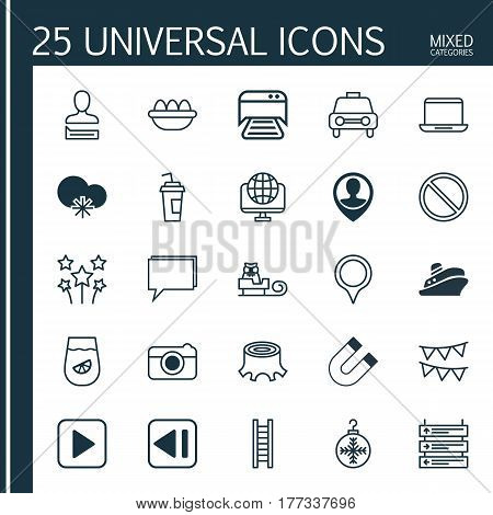 Set Of 25 Universal Editable Icons. Can Be Used For Web, Mobile And App Design. Includes Elements Such As Marker, Printed Document, Plane Schedule And More.