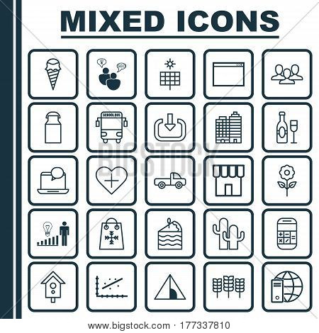 Set Of 25 Universal Editable Icons. Can Be Used For Web, Mobile And App Design. Includes Elements Such As Internet Network, Transport Vehicle, Hotel And More.