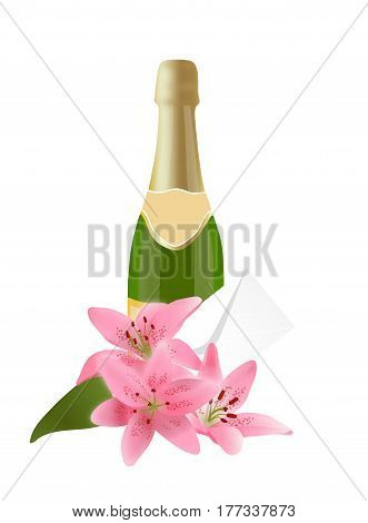 Vector illustration of champagne with a bouquet of lilies and envelope