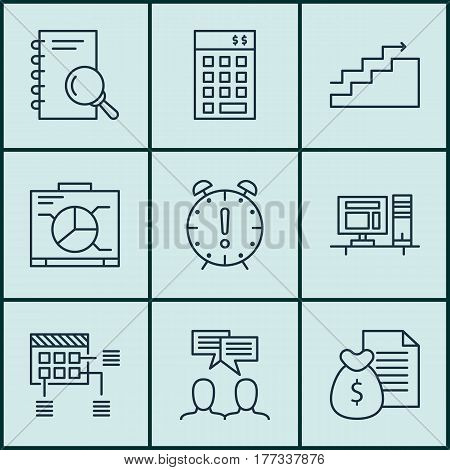Set Of 9 Project Management Icons. Includes Investment, Time Management, Report And Other Symbols. Beautiful Design Elements.