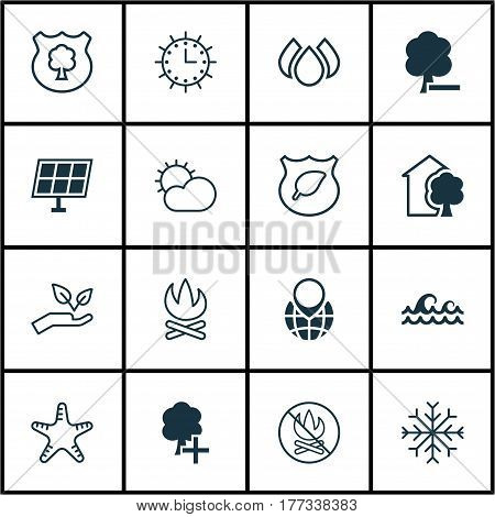 Set Of 16 Ecology Icons. Includes Bonfire, Delete Woods, Sun Power And Other Symbols. Beautiful Design Elements.