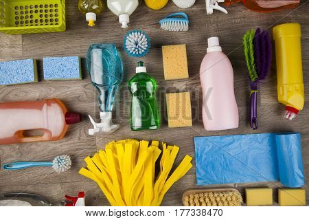 Assorted cleaning products