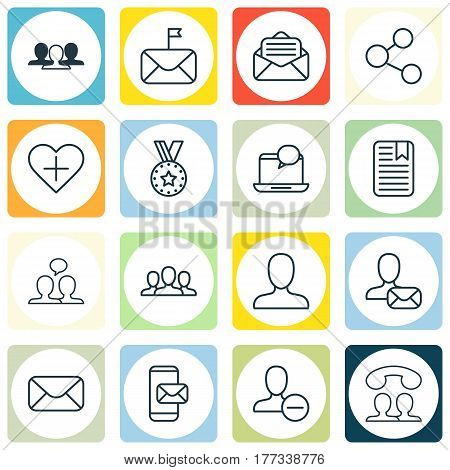 Set Of 16 Social Icons. Includes Online Letter, Mail Notification, Read Message And Other Symbols. Beautiful Design Elements.