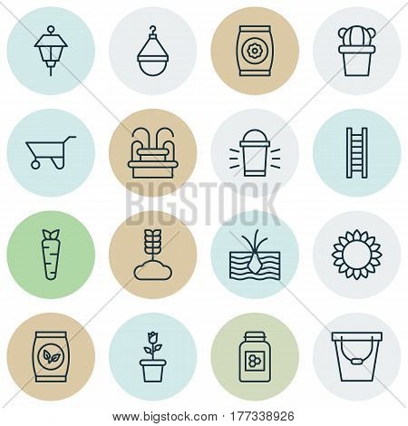 Set Of 16 Gardening Icons. Includes Fertilizer, Desert Plant, Grains And Other Symbols. Beautiful Design Elements.