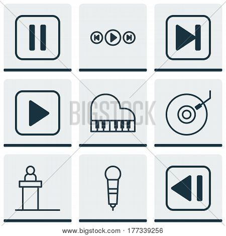 Set Of 9 Music Icons. Includes Octave, Skip Song, Gramophone And Other Symbols. Beautiful Design Elements.