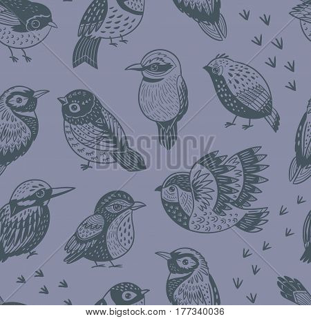 Vector seamless pattern with exotic birds. Decorative tropical birds background