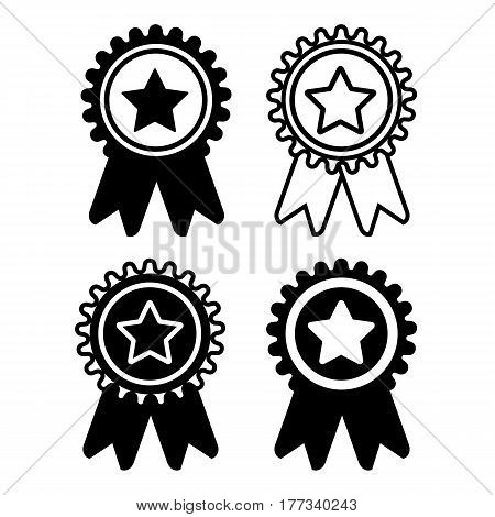 Medal set black and white isolated icons. Award medal icon. Best guarantee symbol. Winner achievement sign.