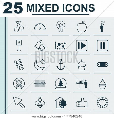 Set Of 25 Universal Editable Icons. Can Be Used For Web, Mobile And App Design. Includes Elements Such As Crescent, Birthday Cake, Comparison And More.