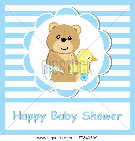 Baby shower card with cute bear and duck toy suitable for postcard, greeting, and invitation card