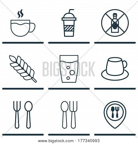 Set Of 9 Restaurant Icons. Includes Soda, Soda Drink, Tea And Other Symbols. Beautiful Design Elements.