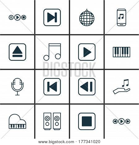 Set Of 16 Audio Icons. Includes Piano, Music Control, Run Song Back And Other Symbols. Beautiful Design Elements.